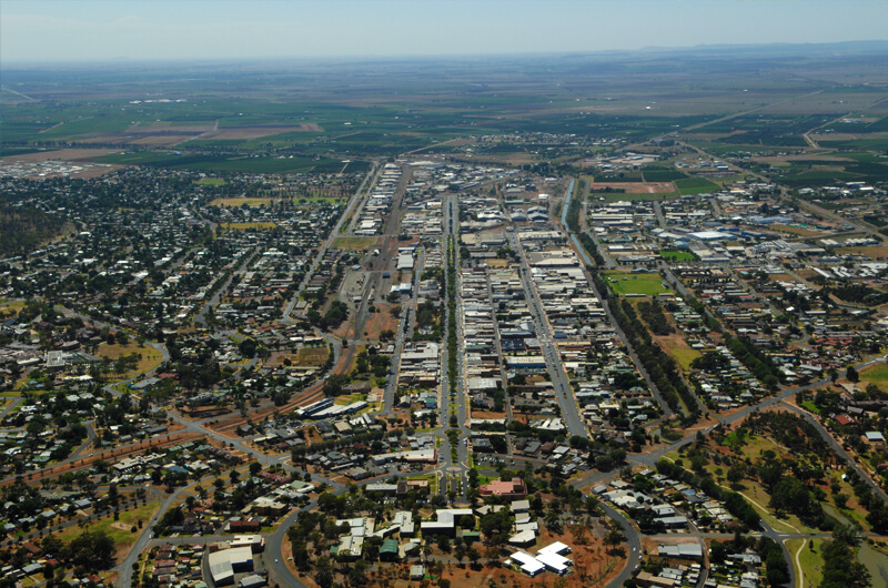 Griffith Tours New South Wales - arial photo of the city of Griffith.